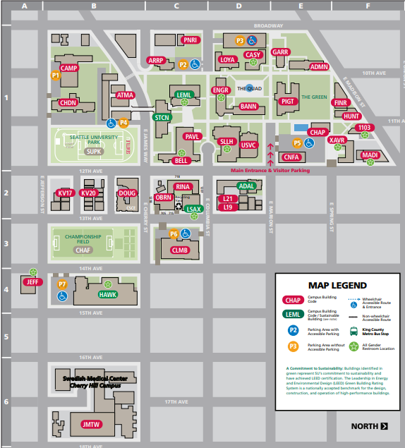 Seattle University Campus Map Visitor Parking   Parking   Transportation and Parking Services
