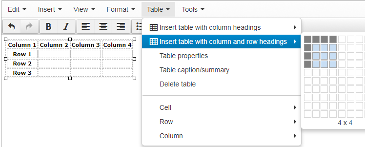 Screen shot of how to create a table with column and row headings for more accessible tables