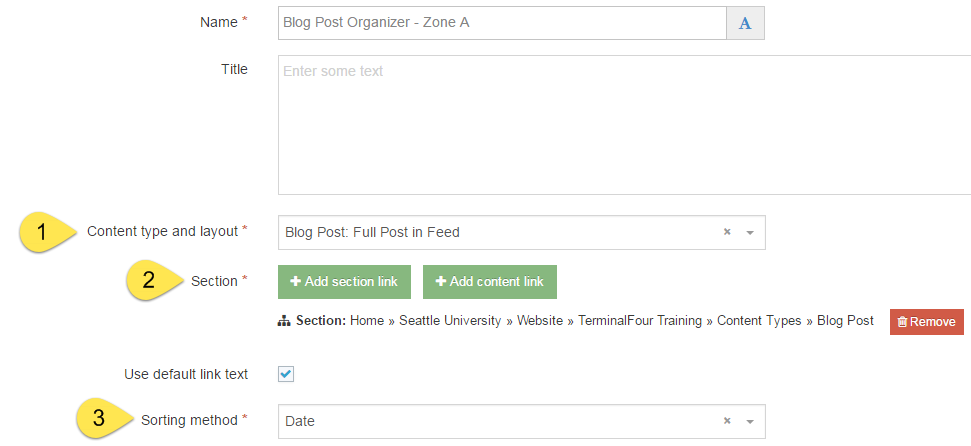 Screet shot of Organizer content type configured for blog