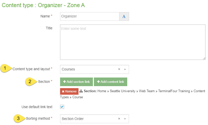 Screenshot of how to configure the organizer content type to use with the course content type
