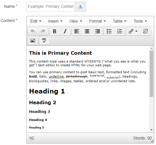 Screen shot of the Primary, Secondary, or Supplemental content type
