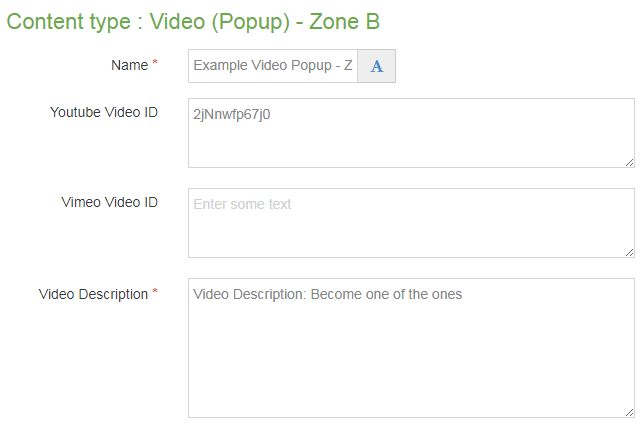 Screen shot of Video popup Zone B content type
