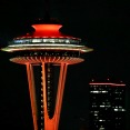 Thumbnail image of the Space Needle lit up in Redhawk Red