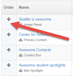 Screen shot of how to change the order of content in a section
