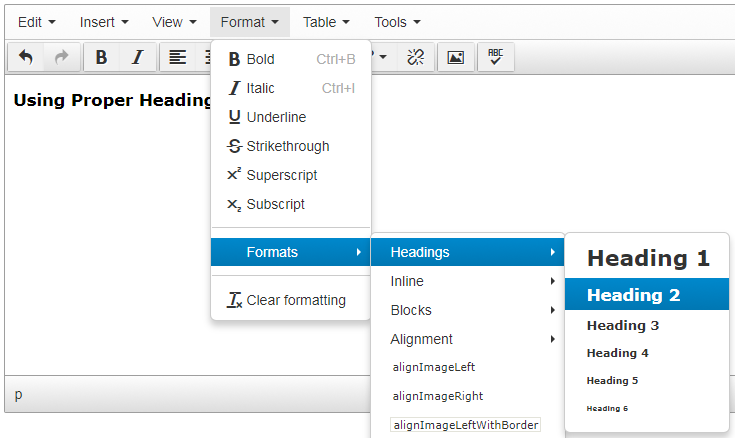 Screen shot of how to select headings in the TerminalFour Text Editor