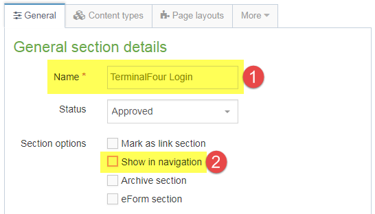 Screenshot of steps 1 and 2 of creating a hidden link section