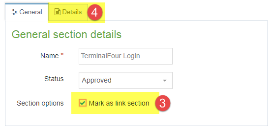 Screenshot of steps 3 and 4 of creating a hidden link section