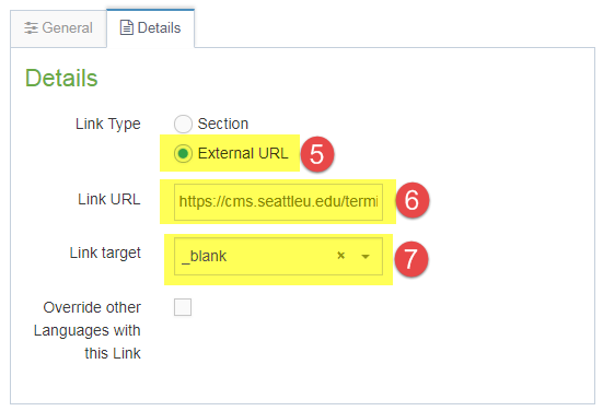 Screenshot of steps 5, 6, and 7 of how to create a hidden link section