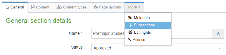 Screenshot of how to access the subsections menu (from the More tab)