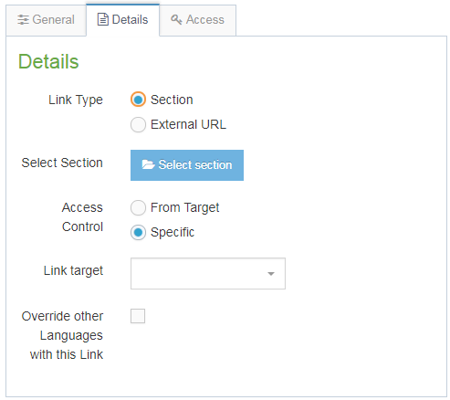Screenshot of how to add a section link to a navigation menu