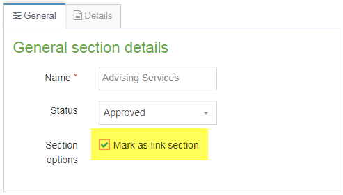 Screenshot of how to mark a new section as a link in navigation menu