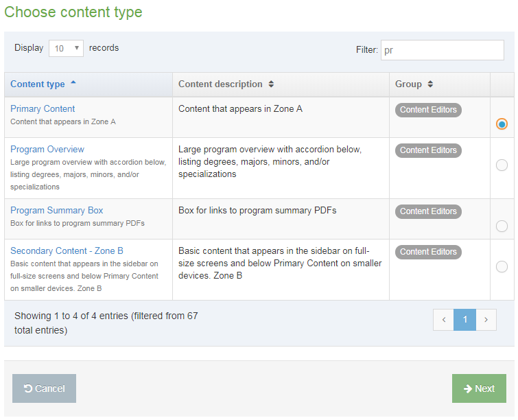 Screen shot of how to add primary content