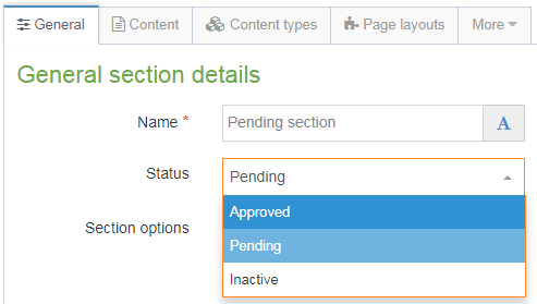 Screenshot of how to publish a section by changing the status to approved
