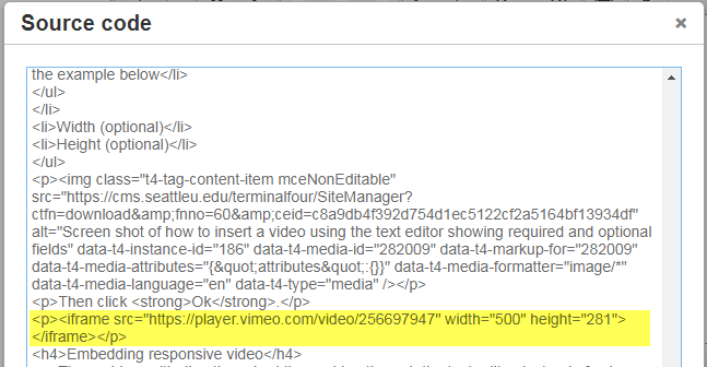 Screen shot of how to embed responsive video by editing video width in the source code