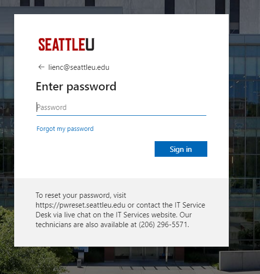 Sample Password Screen of an Authentication Page