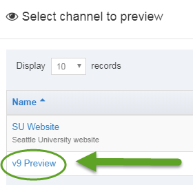 Screen shot of how to select the v9 Preview Channel