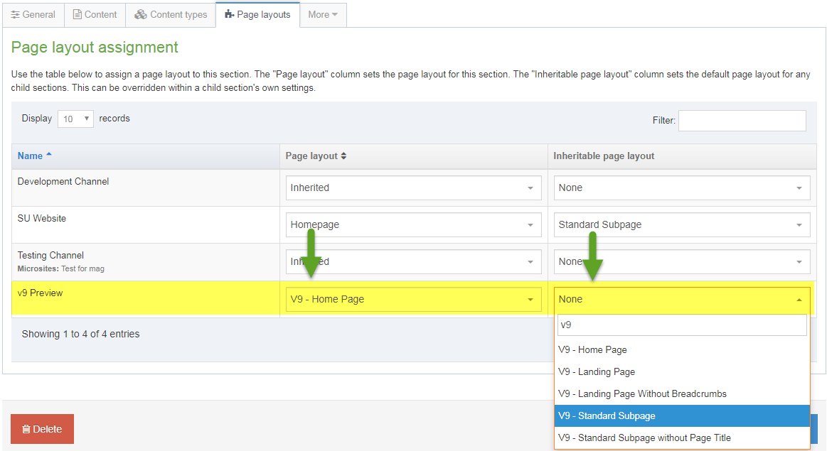 Screen shot of how to change your page layout settings to enable the v9 Preview