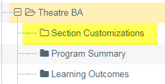 Example of how to locate the Section Customizations folder to update Section Banner - Theatre