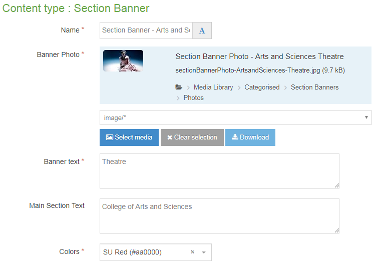 Screenshot of how to use the v9 Section Banner content type - Theatre