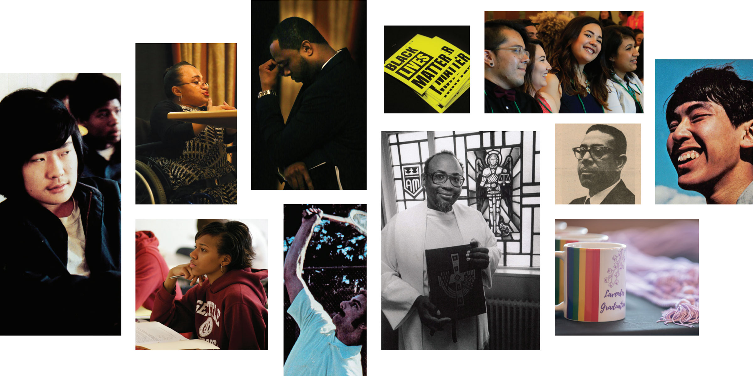 Photo collage representing some key people and moments in OMA's 50 years