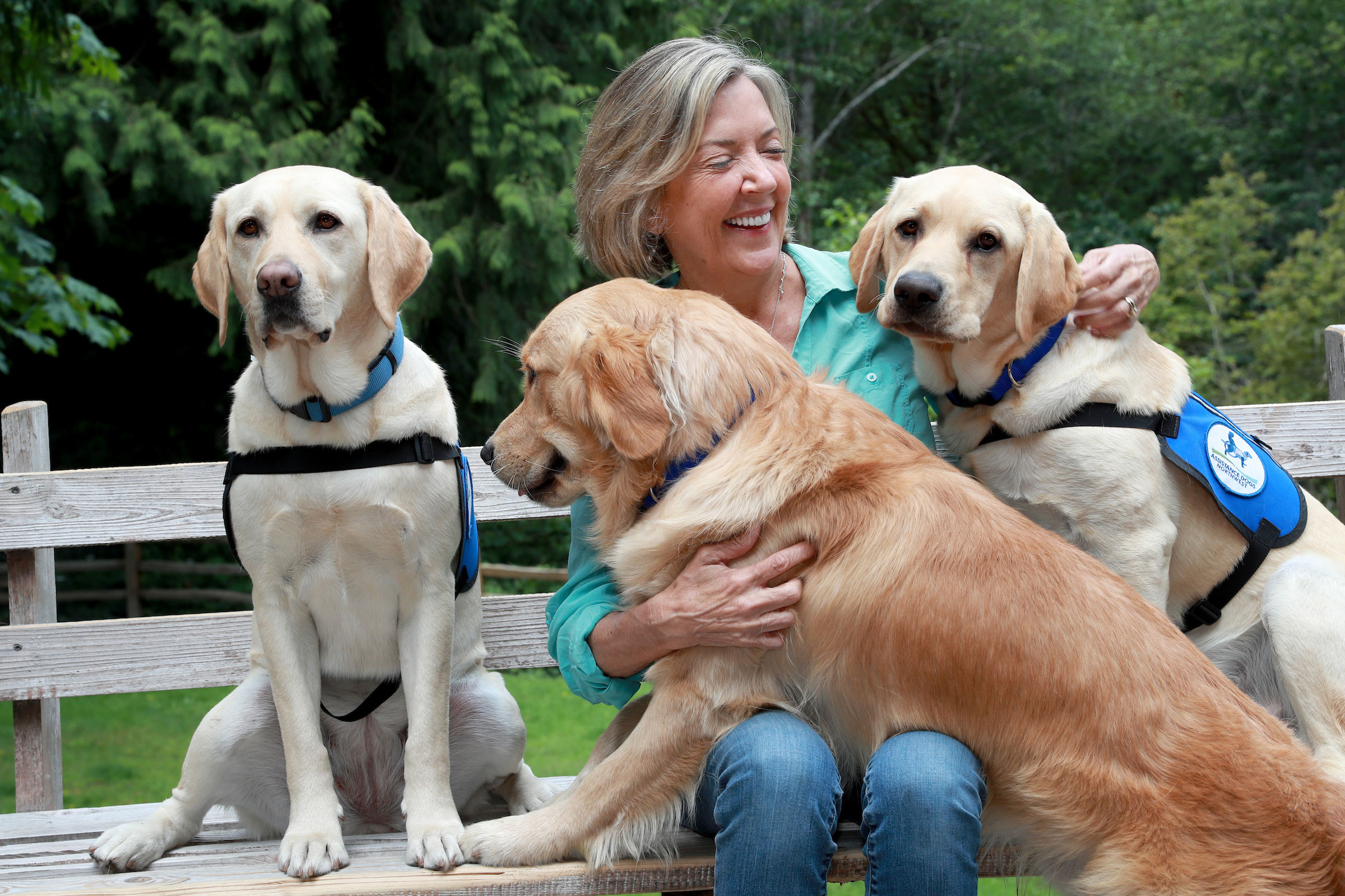 Maureen Maurer with her training dogs.