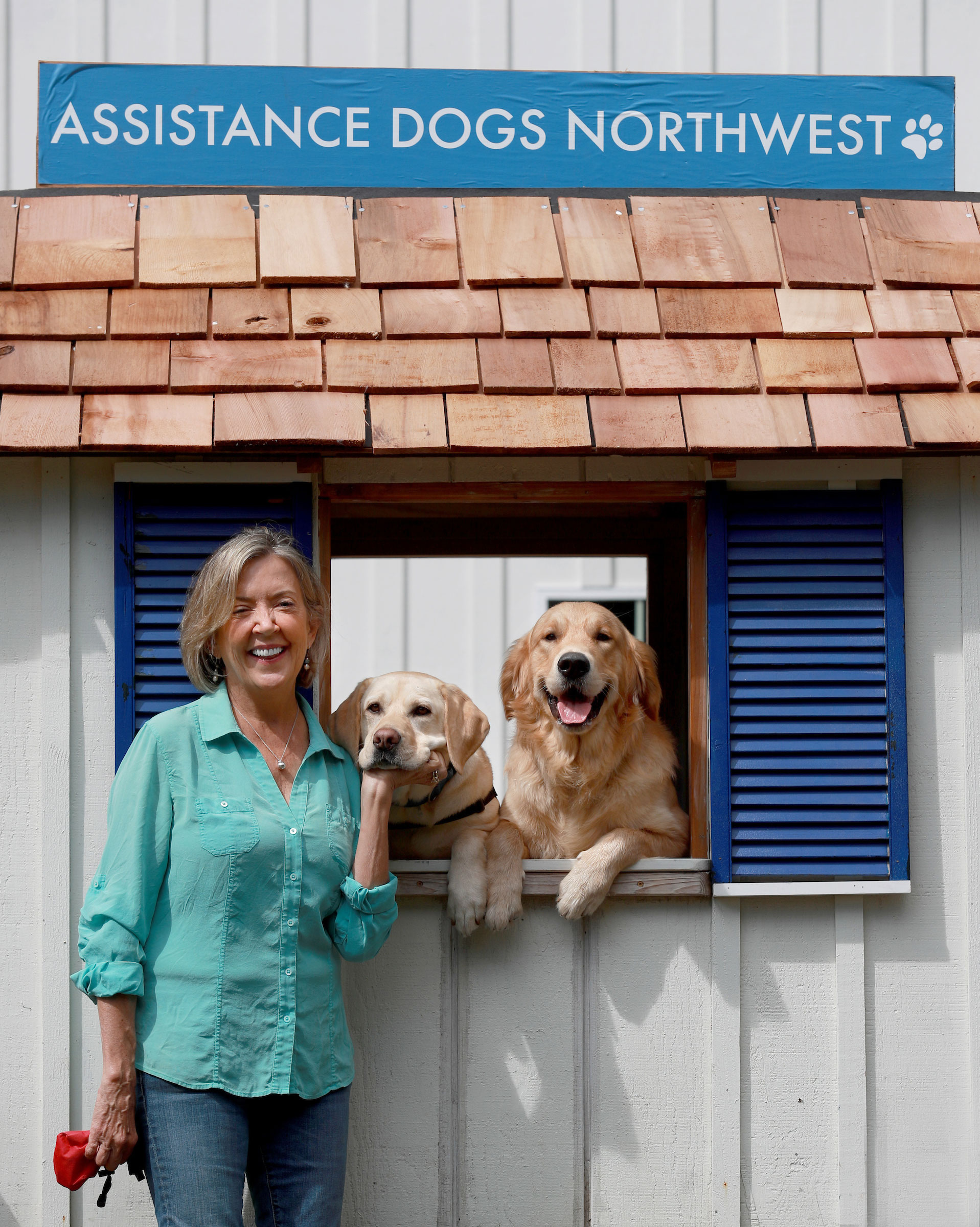 Maureen with some of the training dogs