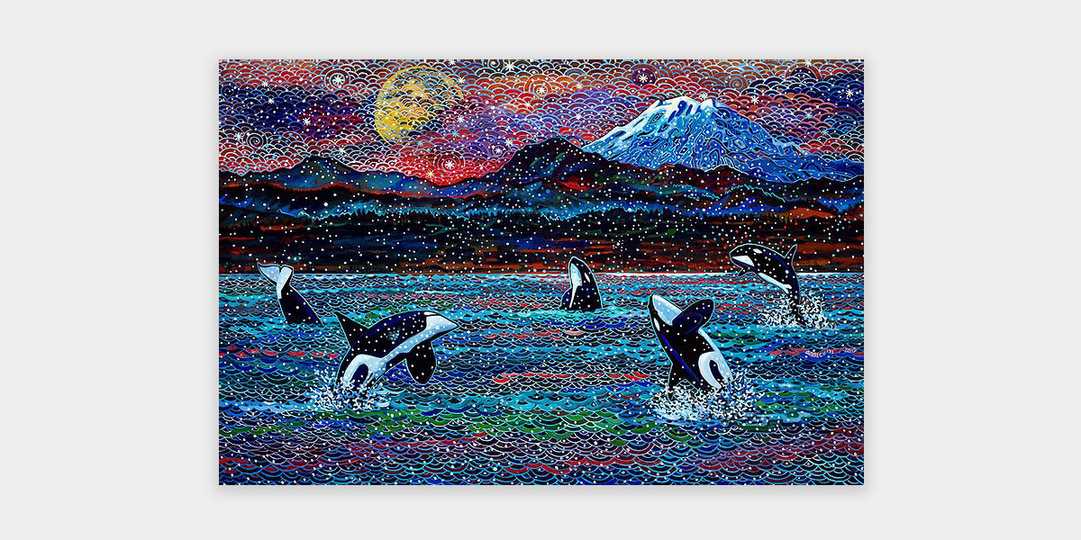 Image of painting which depicts four orca whales breaching and one diving in a body of water set against a mountain range, with the sun and Mt. Rainier in the distance.