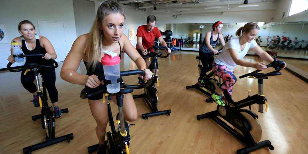 Students in a spinning class at Fitness Center